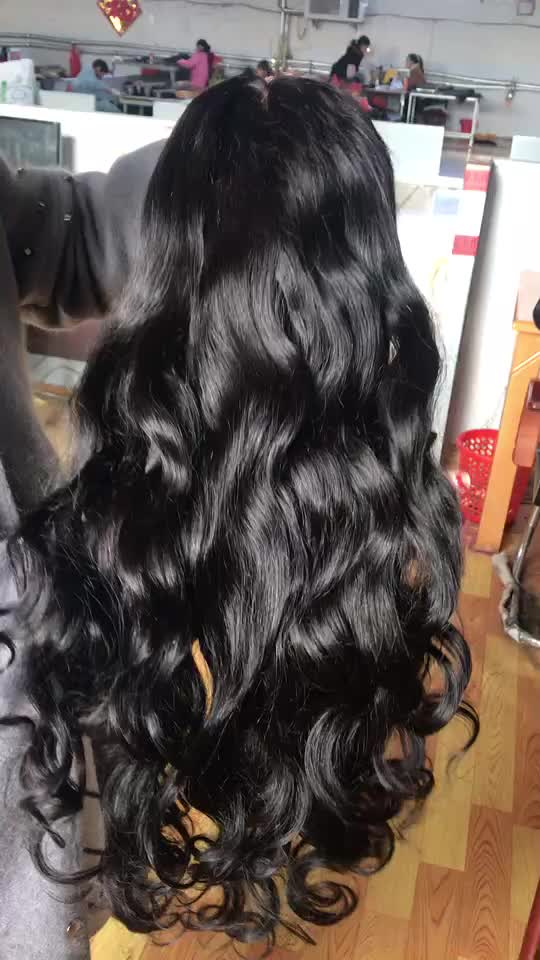 Factory price swiss lace virgin human hair  9a grade loose wave lace front wig