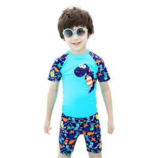 佑游儿童泳衣男童泳裤套装男孩分体小中大童小恐龙游泳衣宝宝送帽