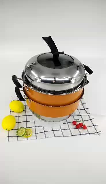 5 pcs En Céramique Orange Pot En Acier Inoxydable Pour Cuisine Maison