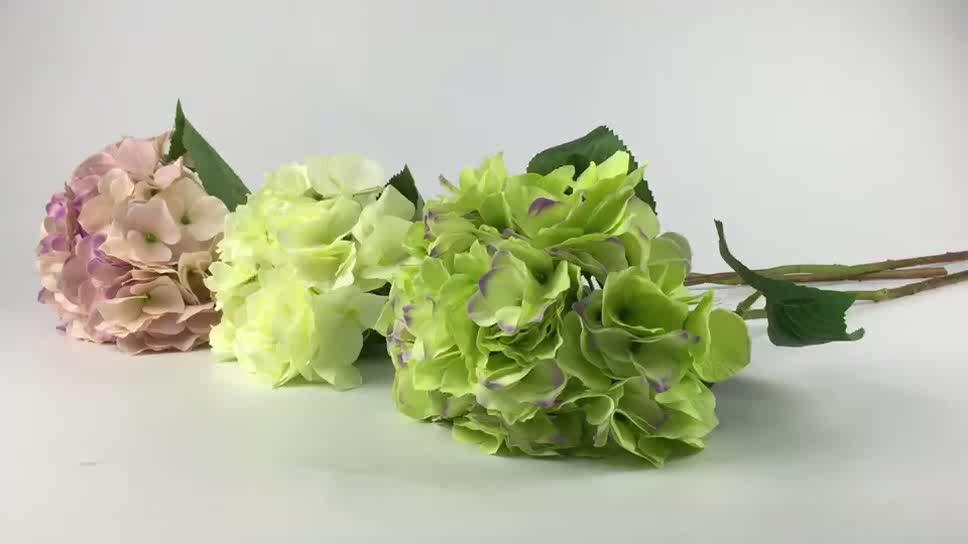 सस्ती कीमत गुलाबी हरे, पीले बड़ा सिर नकली रेशम कृत्रिम फूल हाइड्रेंजिया संरक्षित