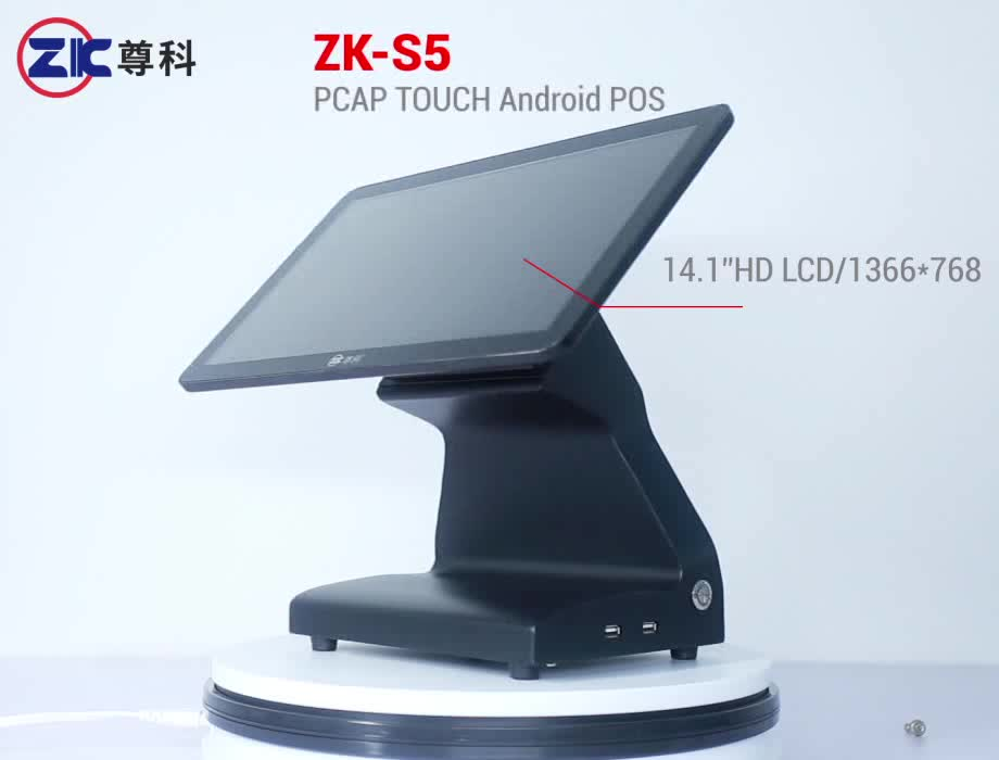 """14.1"""" android pos terminal printer cash drawer all in one pos system hardware"""
