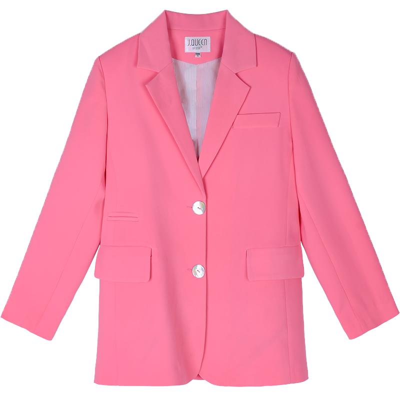 粉色小西装外套2021春季新款休闲用后评测