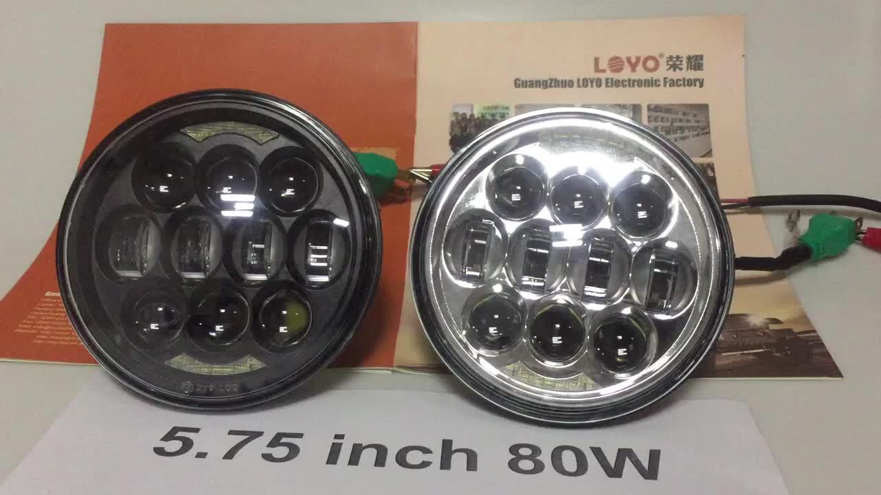 Yüksek lümen motosiklet led projektör farlar 5.75 '' 80 w led far 12 v kafa ışık harley için yüksek düşük işın