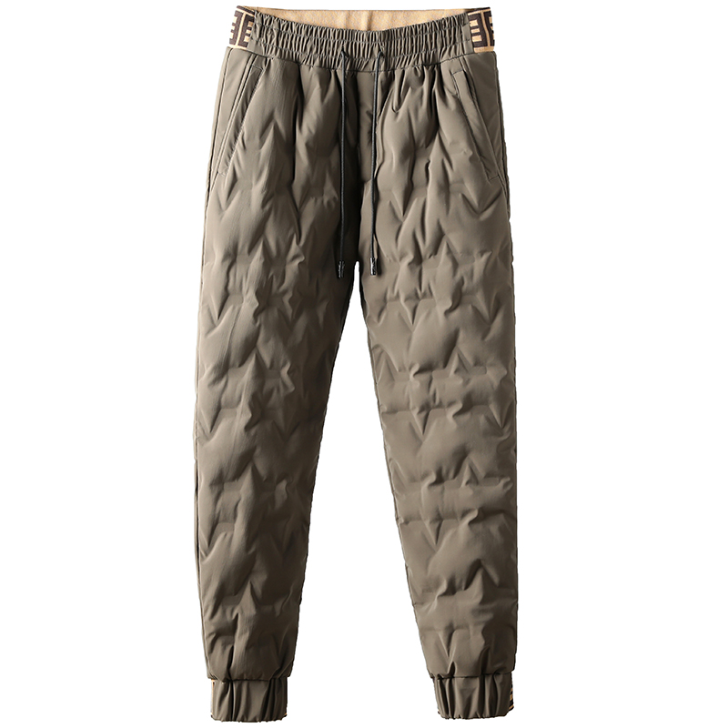 冬季加厚保暖抗寒白鹅绒时尚撞色个性压胶青年男士小脚休闲羽绒裤