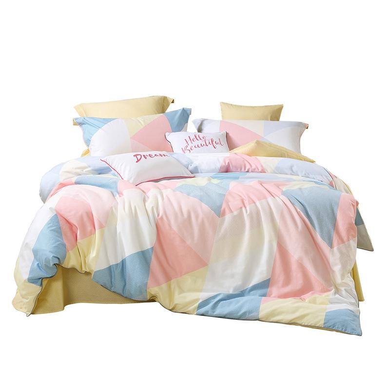 水星家纺四件套全棉纯棉简约北欧风床笠床单被套1.2m1.5m1.8米床