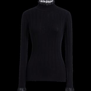 黑色女红袖2019冬装新款修身针织衫