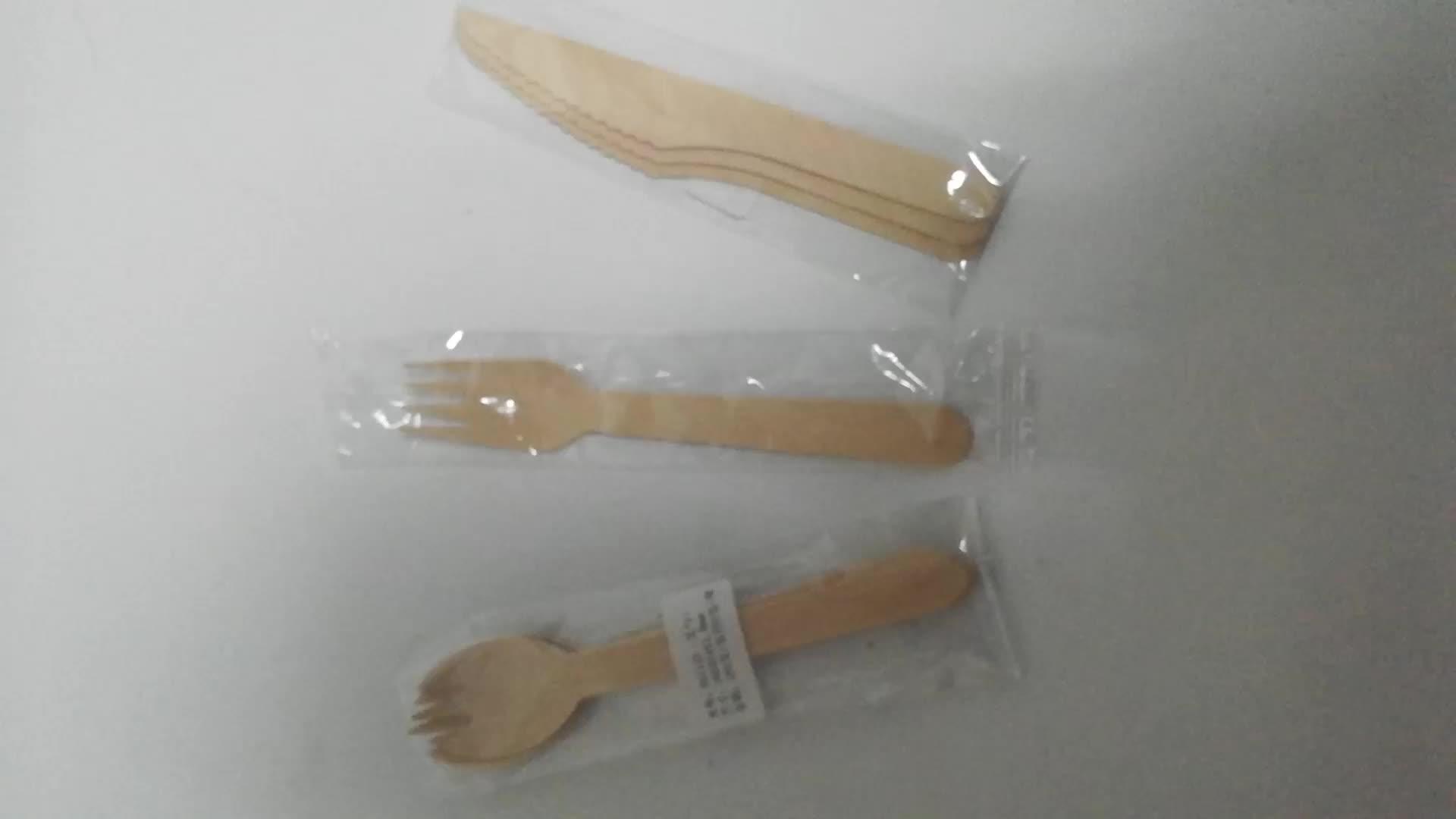 Herstellung Holz Einwegbesteck Set / Löffel Gabel Messer