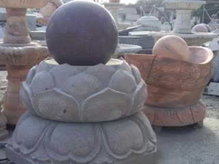Custom Design Stone Carving Sunset Red Marble Sphere Water Fountain