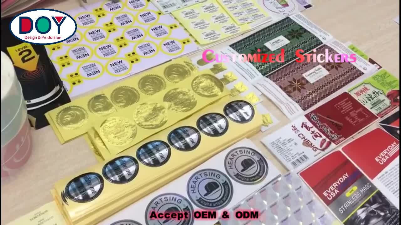 Wholesale glitter peelable custom printed 3d embossed brand logo gold foil adhesive labels stickers