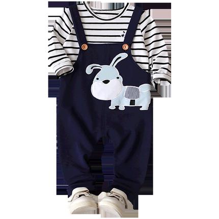 乐努比童装男宝宝套装洋气岁背带裤