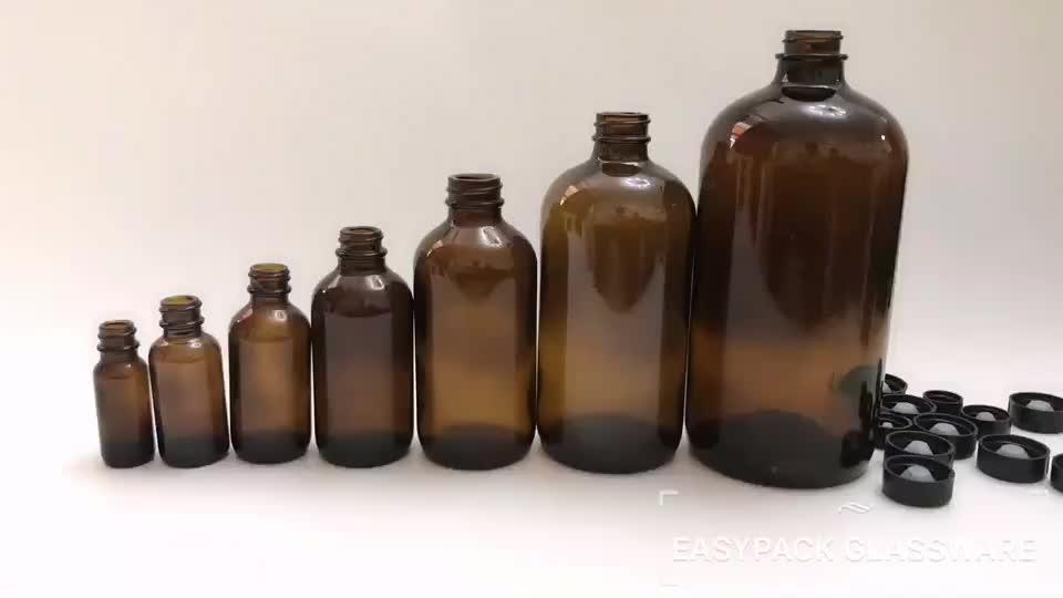 1 oz 30 ml amber cam uçucu yağlar için vida ile boston yuvarlak şişeler top kap