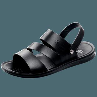 回力男鞋夏季男士皮凉鞋2018拖鞋