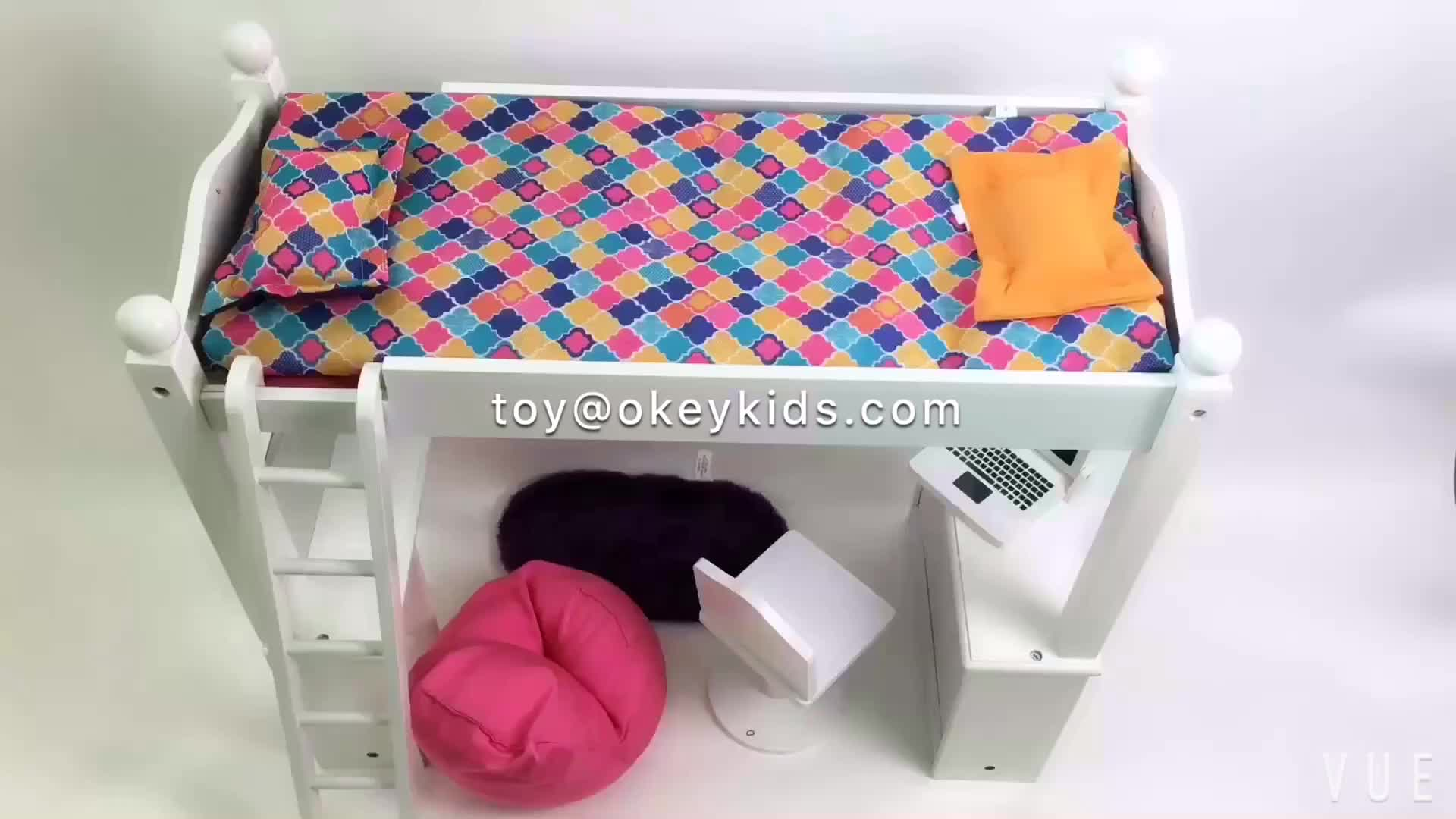 Wholesale Baby Lovely Wooden Doll Bunk Beds Miniature Kids Wooden