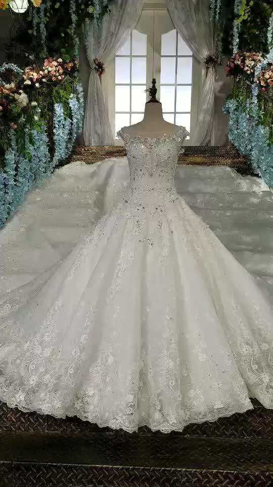 LS00158 White Bead Appliques Description Of Wedding Dress O Neck Long Trial Arabic Big Boobs