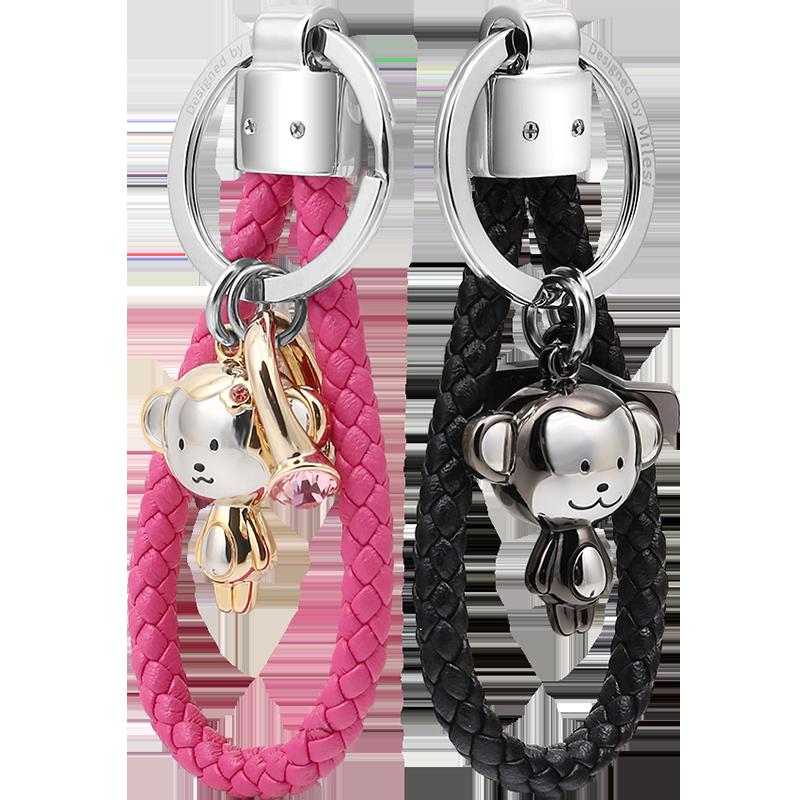 卡通小猴子钥匙扣情侣挂件钥匙链女款汽车定制一对创意简约男可爱