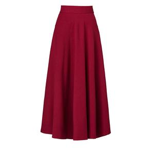 2021新款半身裙女秋冬红色大码长裙高腰A字裙大摆广场舞跳舞裙子