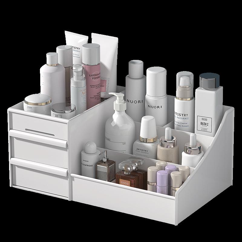 抽屉式化妆品收纳盒首饰整理护肤桌面梳妆台塑料面膜口红置物架