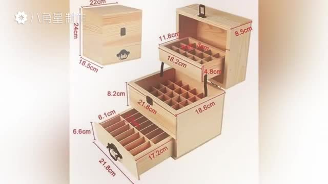 Wooden box for storage essential oils