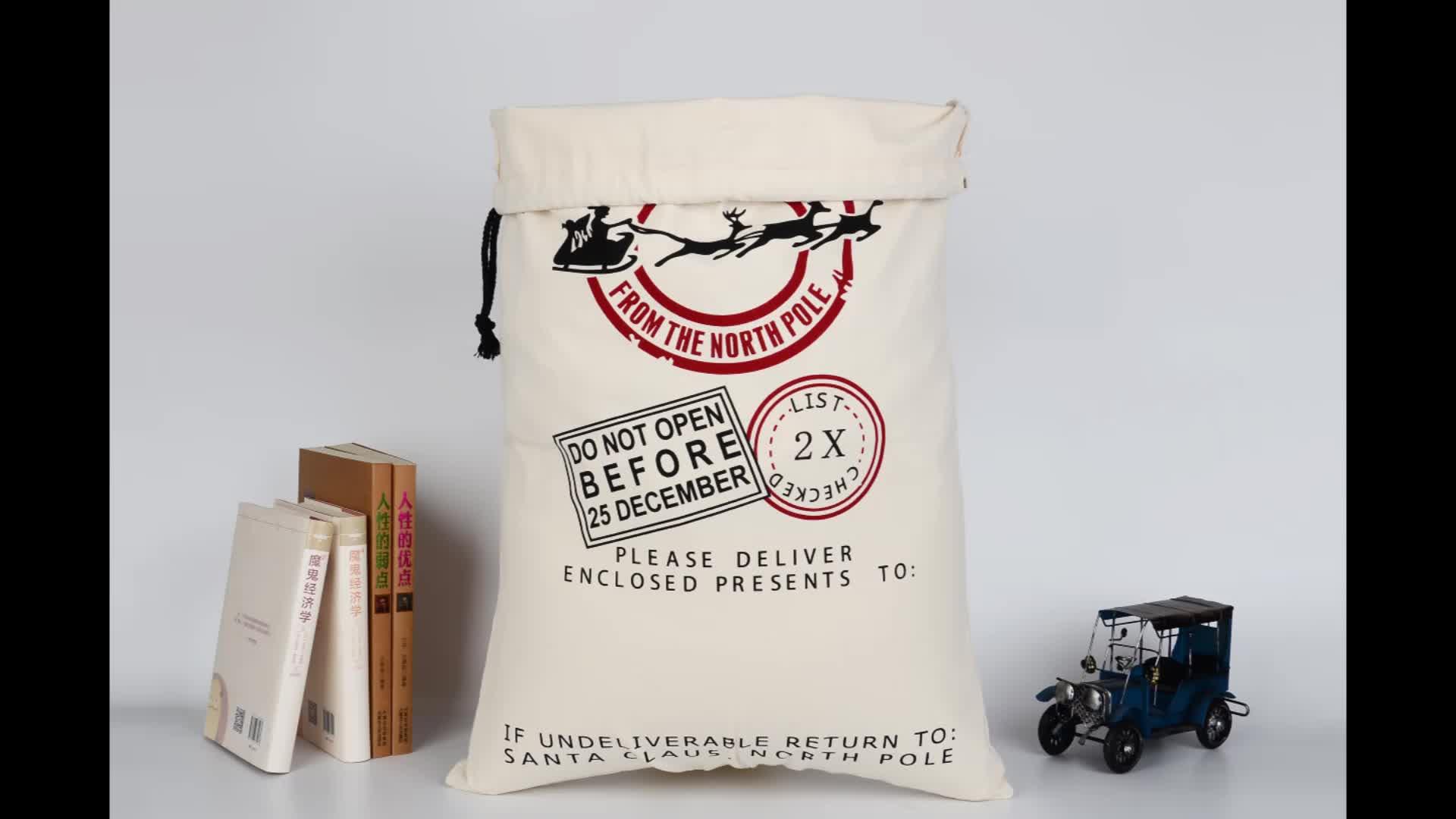 गर्म बेच कस्टम प्रिंट बड़ा क्रिसमस उपहार बैग पैकेजिंग फांसी भंडारण कपास Drawstring बैग