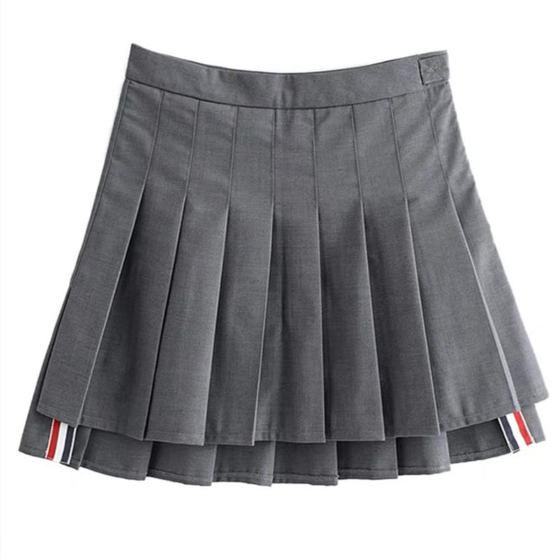 秋冬加厚TB百褶裙灰色西装面料前短后长半身裙防走光A字短裙女