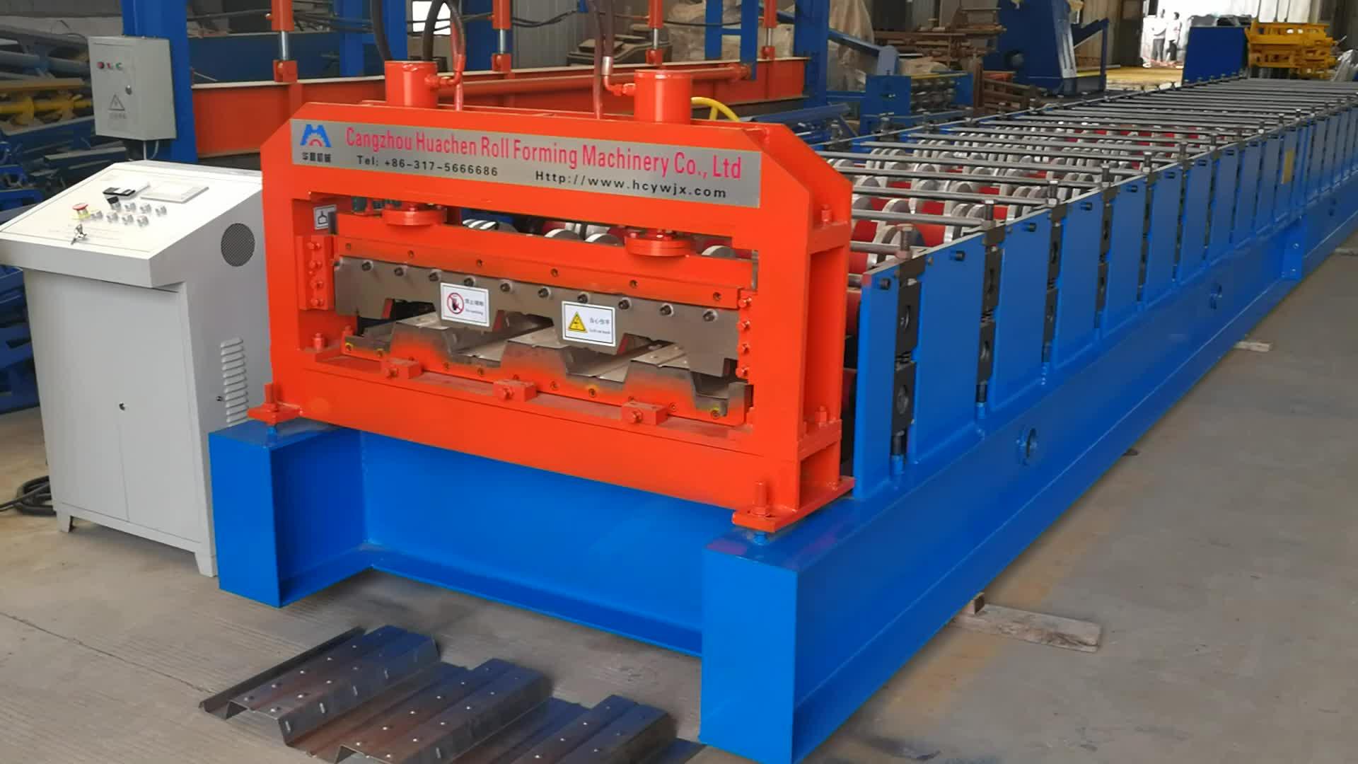 สูงซี่โครงชั้นแผ่นยาว span คุณภาพสูงโครงสร้างเหล็กชั้น deck roll forming machine จากประเทศจีน