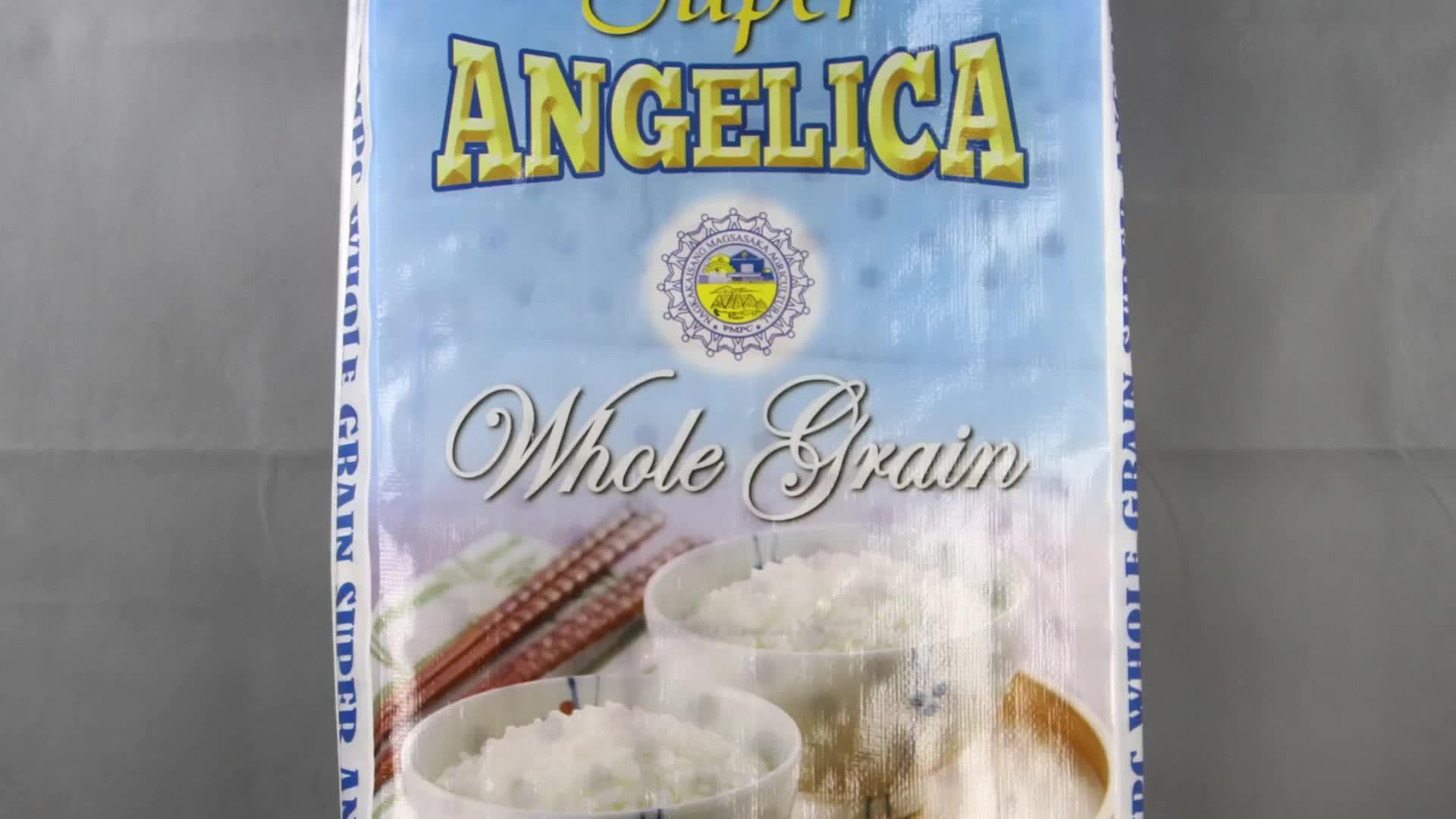 Saco de Arroz De polipropileno 10kg de Arroz PP Sacos Laminados com Cabo Branco de Plástico