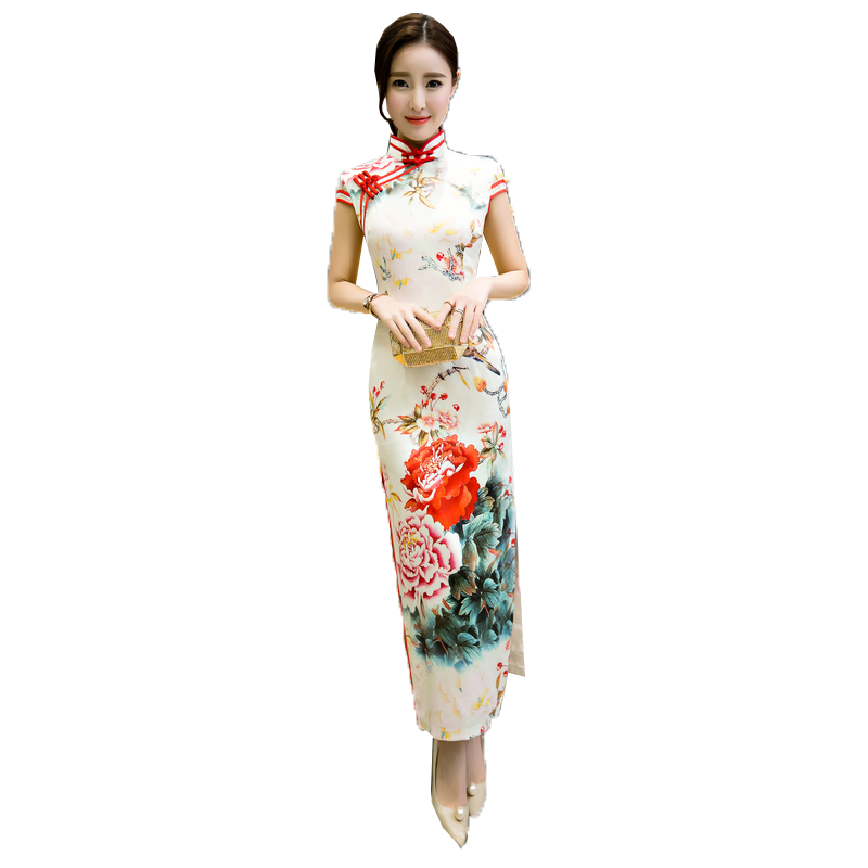 2019新款少女走秀旗袍长款夏年轻款时尚性感优雅改良中国风连衣裙
