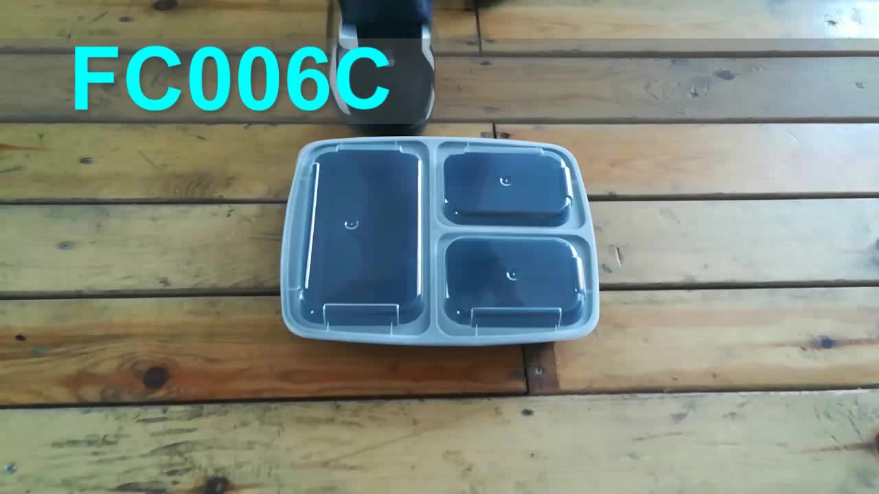 Meal Prep Containers 3 Compartment Leak Proof 1oz sauce cups Microwave BPA Free Plastic Food Bento Plastic Lunch Boxes
