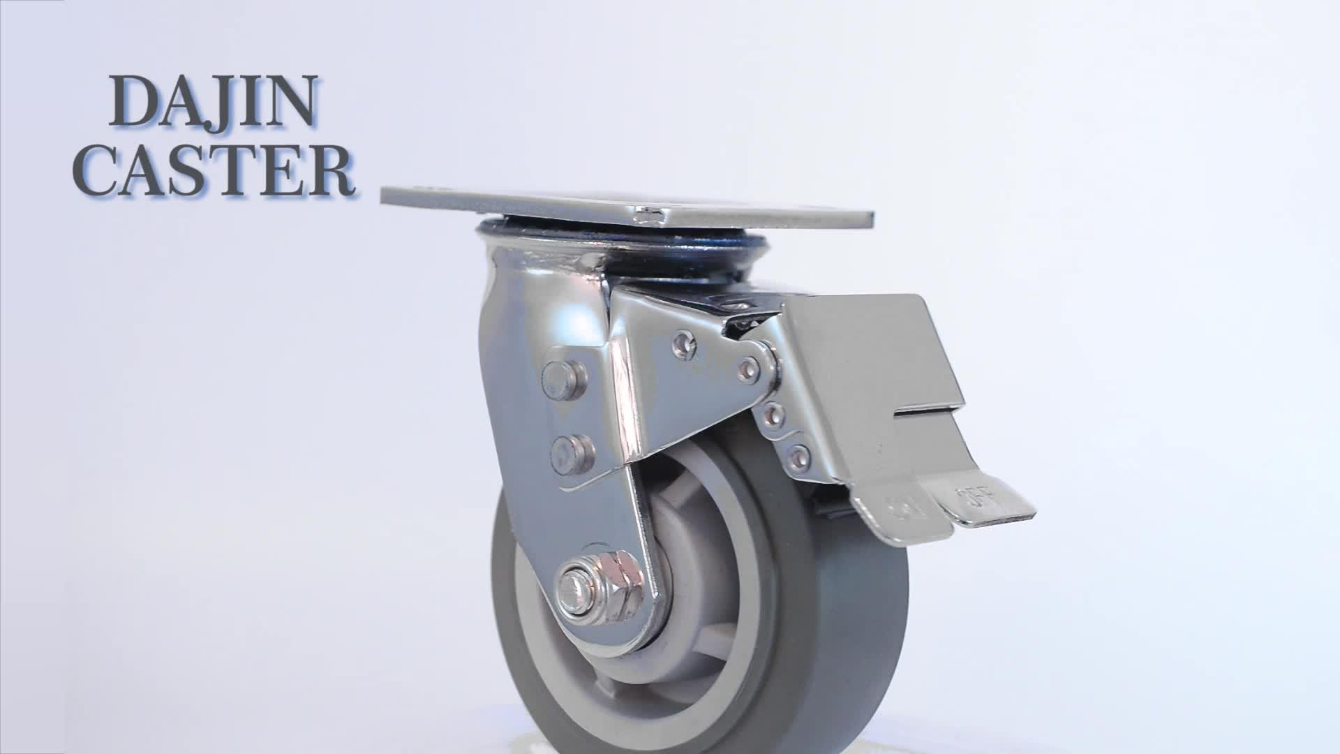Tugas berat industri jenis PU kastor roda dan putar kastor