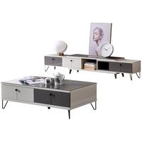 全友家居现代北欧钢化玻璃茶几电视柜组合客厅储物柜子家具120797