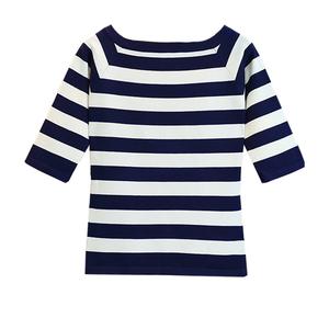 中袖条纹七分袖冰丝夏蓝色短袖t恤