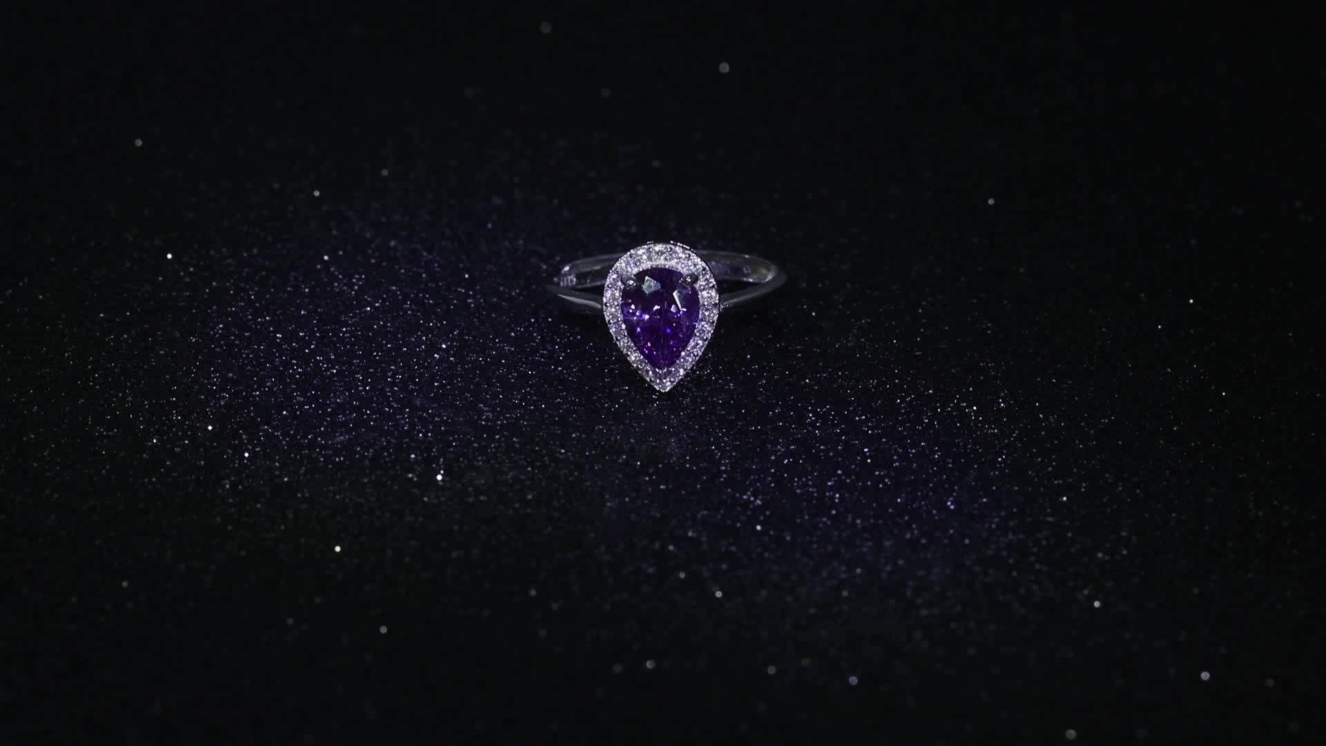 2017 hot sale purple stone 925 silver with rhodium plated ring