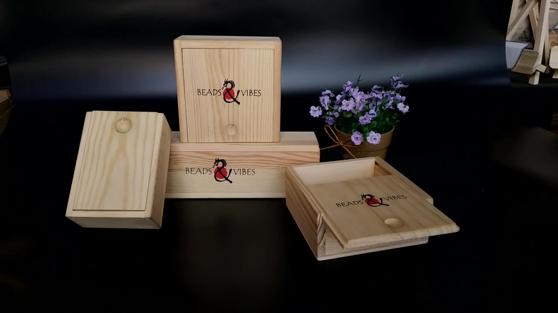 Pan barato madeira maciça logotipo personalizado embalagem pequena tampa de presente de correr caixa de chá de madeira
