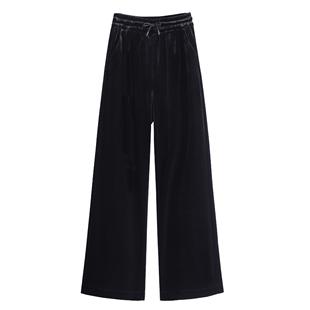 金丝绒阔腿裤黑色百搭加绒加厚裤子