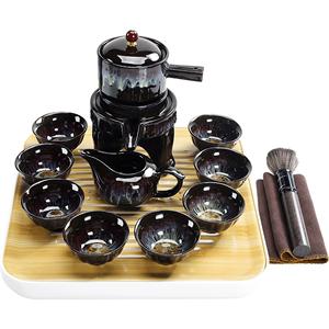 美阁家用天目釉陶瓷窑变建盏功夫茶具套装自动石磨茶壶茶杯泡茶器