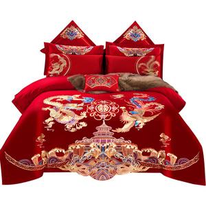 恒源祥全棉婚庆四件套大红色床单