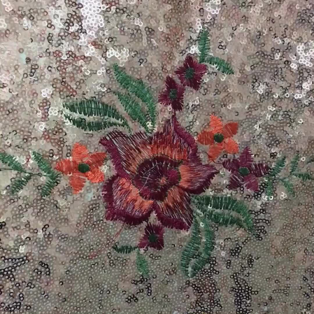 New Designs Golden Sequin Embroidery Fabrics For Wedding