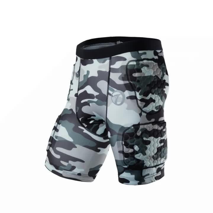 סובלימציה Camo בגדי ספורט כדורסל מכנסיים דחיסת מכנסיים מרופדים אמריקאי