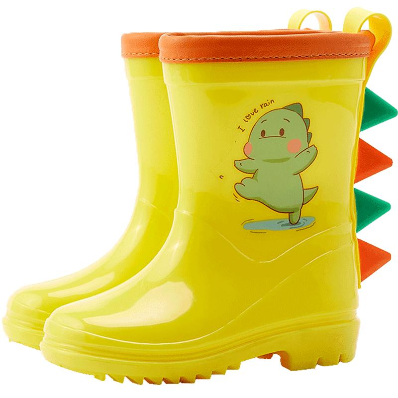 儿童雨鞋男童防滑女童2岁3小童恐龙胶鞋幼儿小孩水鞋宝宝雨衣雨靴