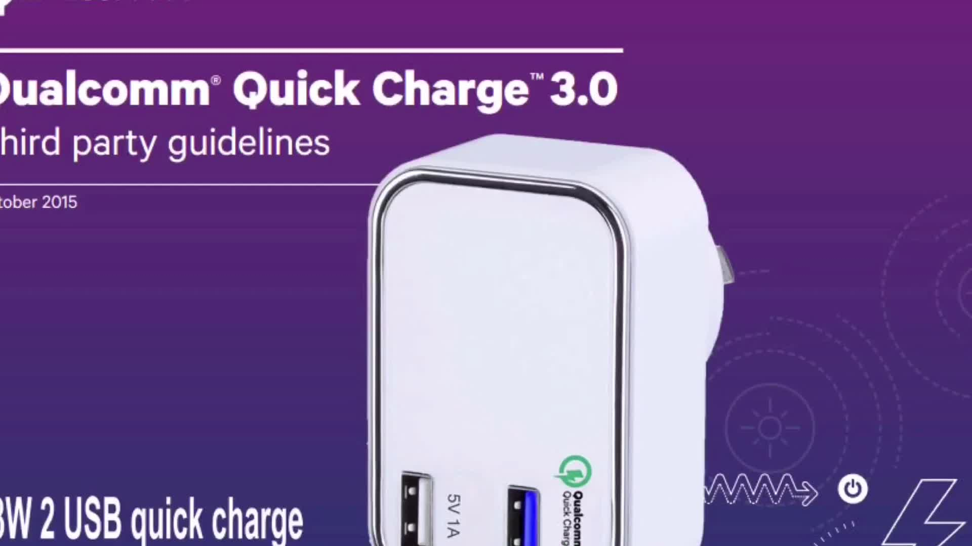 2 Port Wall Travel Qualcomm QC3.0 Approval Quick Charge Charger