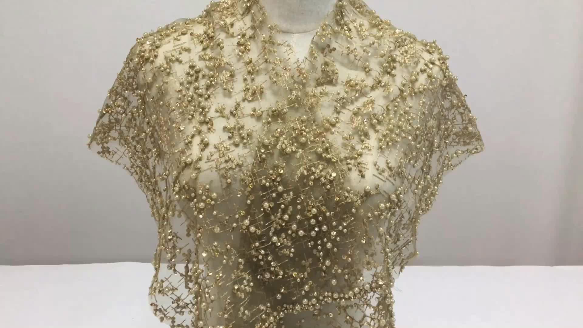 Đầu Cuối Pháp Vàng Sequins Tulle Vải Ren 3D Vải Ren Hạt Bridal Wedding Ren HY0617