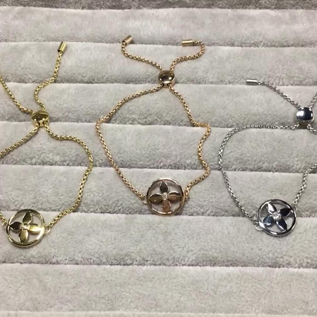 fashion stainless steel flower bracelet designs for girls