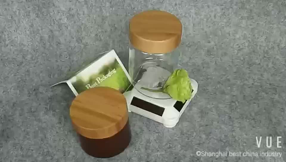 cosmetic packaging 30g 50g 100g 250g 500g plastic pet jar with bamboo lid for cream, mask powder, salve, butter, balm, clay
