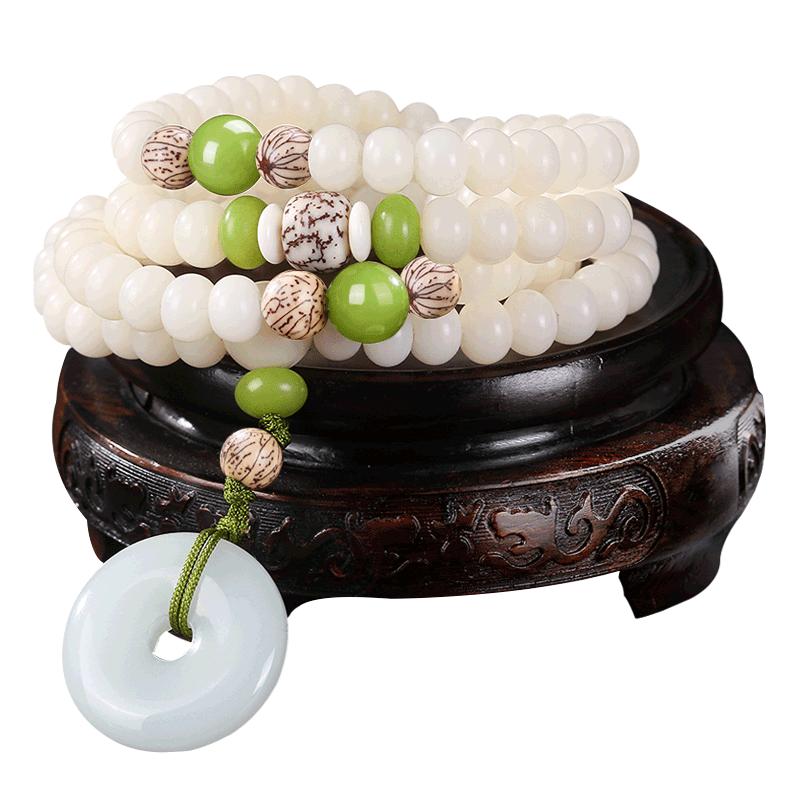 彩想原创设计白玉菩提根散珠男女情侣项链手链手串佛珠108颗念珠