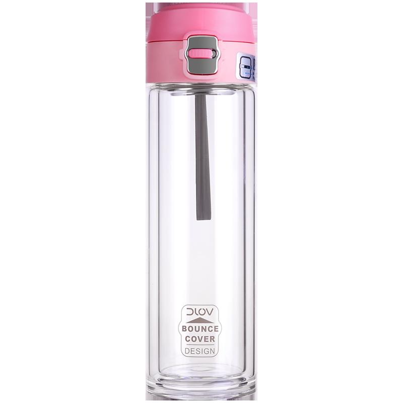 富光悠乐玻璃杯女男茶杯双层隔热便携大容量透明水杯带盖车载家用