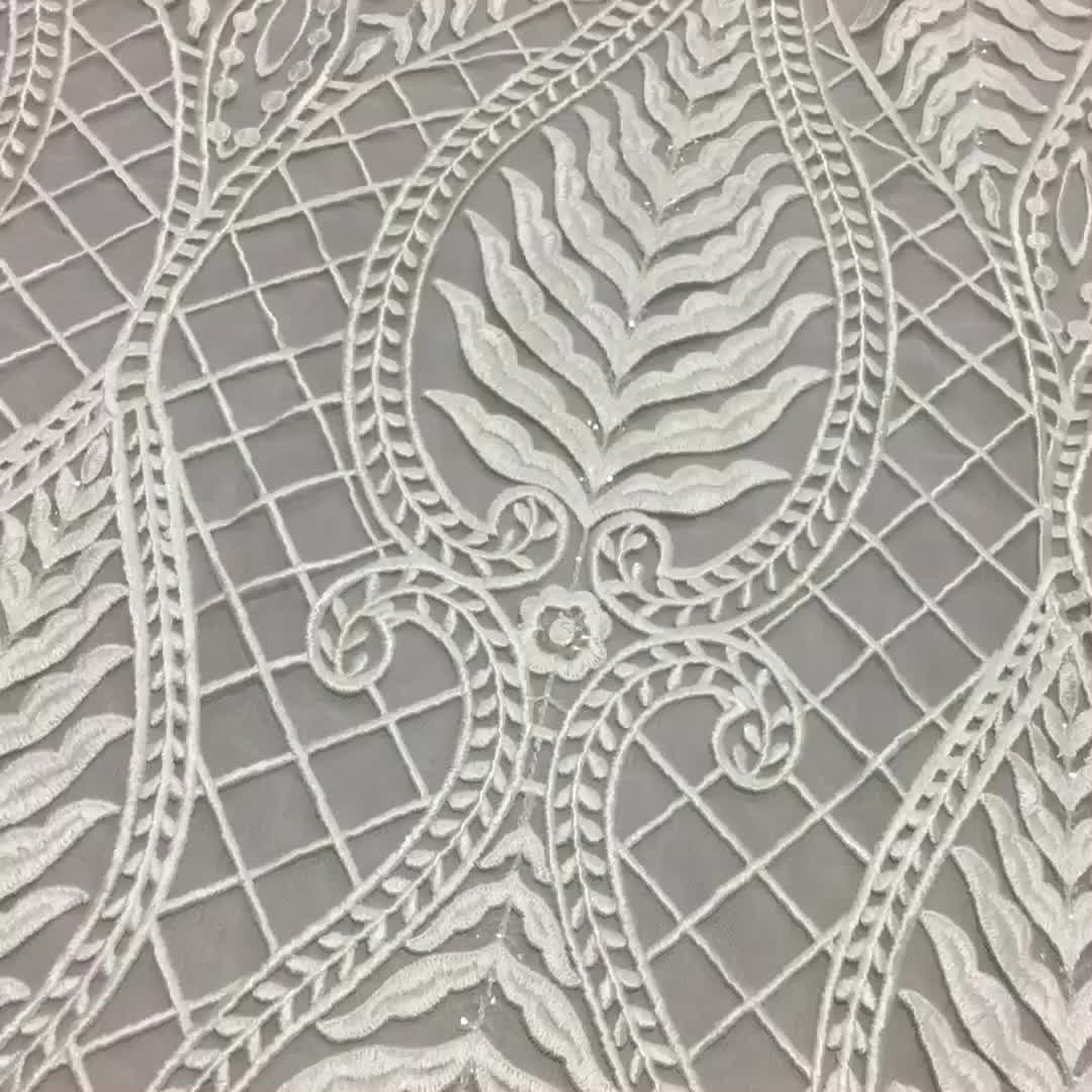 Hot sale white bridal mesh fabric lace for Wedding Dress