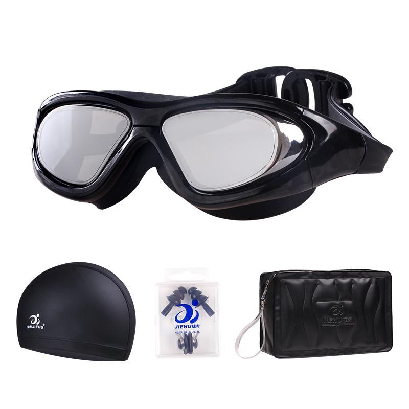 泳镜防水防雾高清近视潜水泳镜泳帽套装备男女士度数大框游泳眼镜