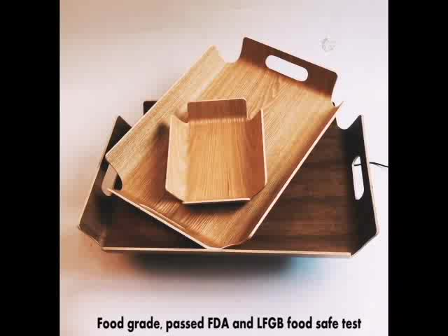 Factory price wholesale willow wooden food serving tray with handle,rectangle willow wood serving tray