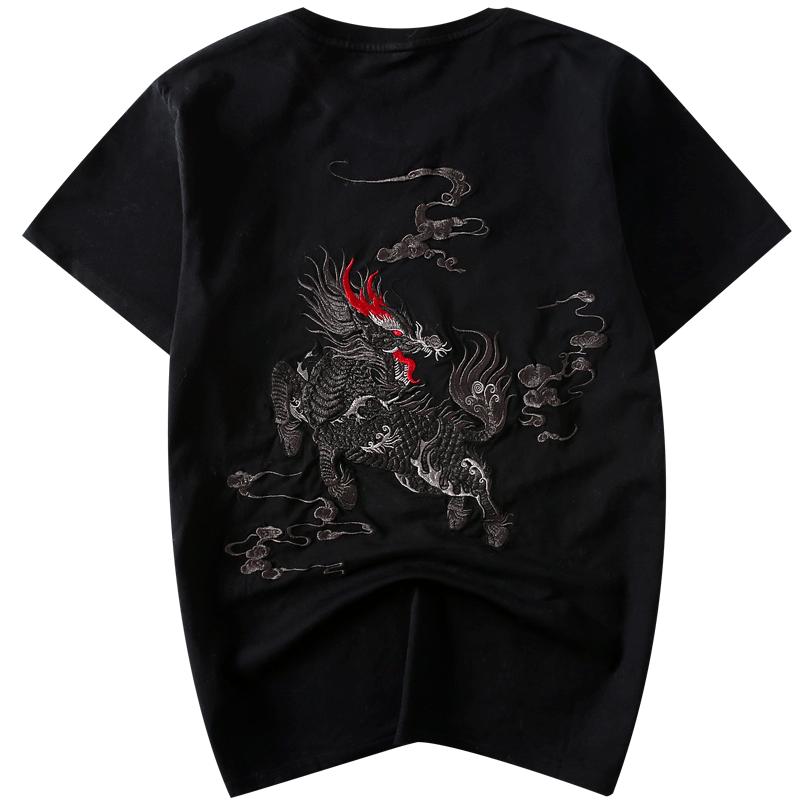 国潮中国风男装麒麟刺绣T恤男宽松大码纯棉半袖社会潮流短袖t恤男