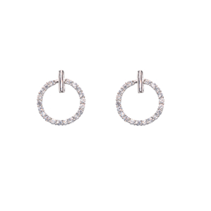 s925纯银针气质简约镶钻精致耳环